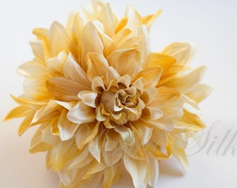 "Silk Flower Jumbo Boutique Quality Dahlia in Banana and Cream - 6.5"" - Artificial Flower"