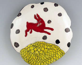Red Rabbit, hand-made ceramic wall hanging