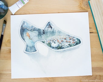 After Midnight - Cinderella Illustration, Fairytale watercolor art