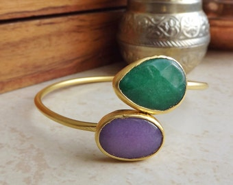 Emerald Green Lilac Purple Jade Gemstone Stackable Bangle Bracelet - 22k Matte Gold Plated