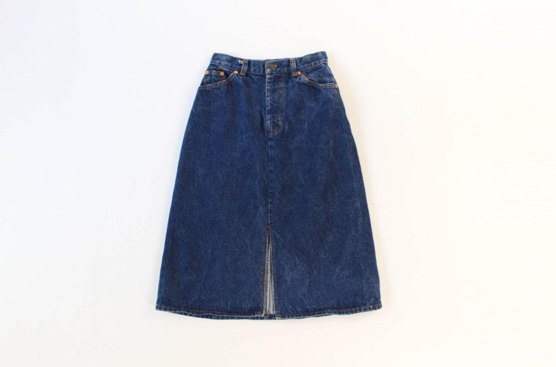 vintage levis denim skirt high waist slit by wearitwellvintage