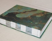 Handmade journal sketchbook green marble  4.5 x 5.5 inches