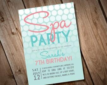 DIY Printable Spa Party Invitation