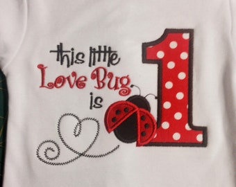 Lovebug 1st Birthday Shirt, Ladybug 1st Birthday, Cute Ladybug 1st Birthday, Lovebug Birthday, Ladybug Birthday, 1st Birthday Present