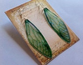 Beautiful Long Green Iridescent Fairy Wing Sterling silver Earrings