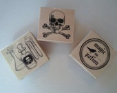 Rubber Stamp Halloween Destash New  Never  Used Skeleton Magic Potion Poison Three Stamps