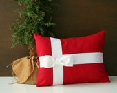 """Red and White Bow Christmas throw pillow cover  / present pillow / 12"""" x 16"""" / cottage chic / modern holiday decor / whimsical"""