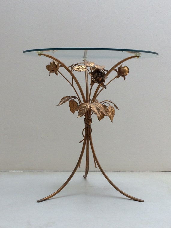 Vintage Italian Tole Rose Table Hollywood Regency Style Gold