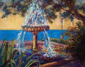 "Spanish Fountain,  Original Oil Painting, Fountain in Spain, Large Painting,  Landscape Portrait, Bold Painting,  Modern Still Life, 36""x36"""