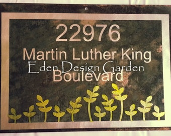 Custom etched metal address house or business sign Sprouting Plant style