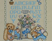 Cross Stitched Sampler Colorful Bear Bunny Flowers Abc's Sampler