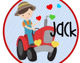 Valentine's Tractor with Hearts  Iron on