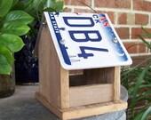 License Plate Bird Feeder, Rustic Wooden Bird Feeder, Reclaimed Wood, Texas License Plate