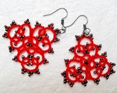 Handmade tatted red earrings made of cotton thread , lace  tatted earrings