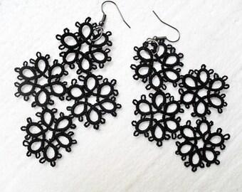 Handmade tatted earrings in  black