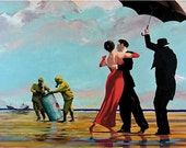 Banksy Canvas (READY TO HANG) - Dancing Butler on a Toxic Beach - Multiple Canvas Sizes