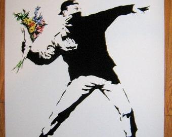 Banksy Print  - Flower Thrower Flower Chucker Flower Bomb  - Multiple Paper Sizes