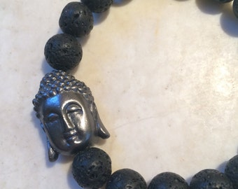 Black Metal Buddha Head and Lava Beads