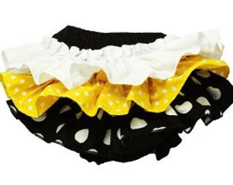 Ruffled Polka Dot Cotton Bloomers - Black, Yellow & White