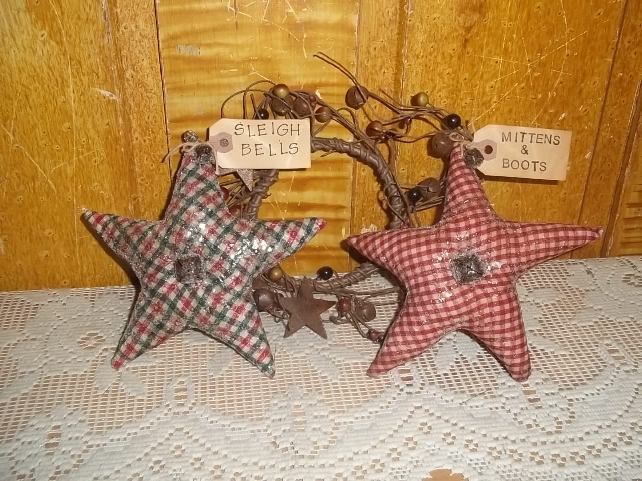 Primitive Star Bowl Fillers Homespun Grubby Tag Christmas etsy 244