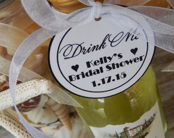 """60 Mini Wine Bottle Custom 2"""" Favor Tags - For Engagement - Bridal Shower - Drink Me Alice in Wonderland Party Favors - Thank You Tags"""