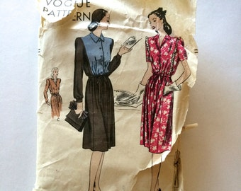 40s Vogue 5222 Maternity Dress Flared with Tie Belt for Adjustments Size 14 Bust 32