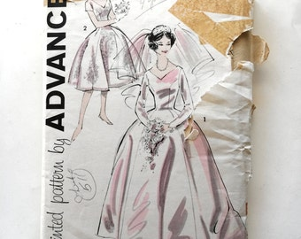 60s Advance 9302 Wedding Bridal Dress-Full Skirt or Evening Gown, Bridesmaid Size 12 Bust 32