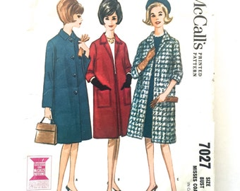 60s McCalls 7027 Coat, Long Set in Sleeves, Pockets, Below Knee Length Size 12 Bust 32