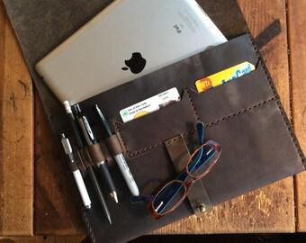 Rugged iPad Case 4 Pocket Leather Envelope iPad Tablet Cover Stud Closure Portfolio Travel Document Keeper Clutch