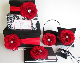 Wedding Money Box Set, guest book, ring pillow and flower girl basket, Damask Black White Red