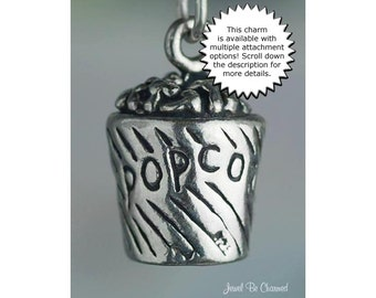 Popcorn Charm Sterling Silver Movie Theater Bucket Snack Food