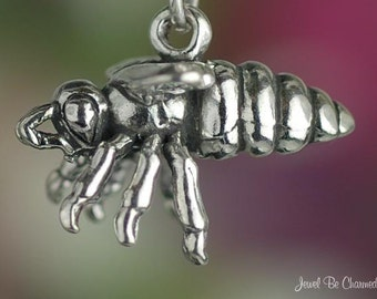 Large Sterling Silver Bee Charm Honey Bees Honeybee Bug 3D Solid .925