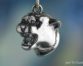 Sterling Silver Cougar Charm Big Cat or School Team Mascot Solid .925