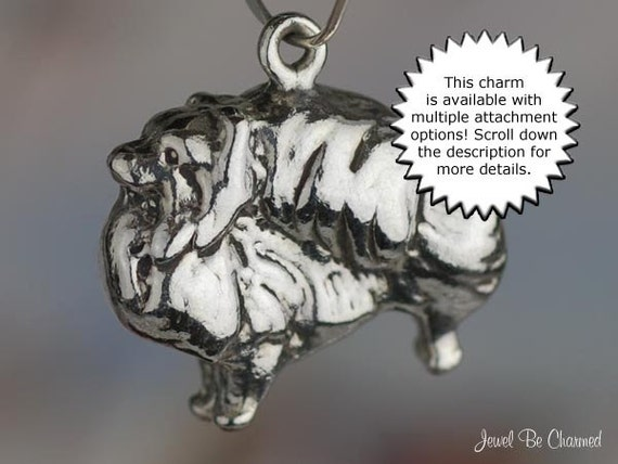 Sterling Silver Pomeranian Charm Dog Breed Purebred Large