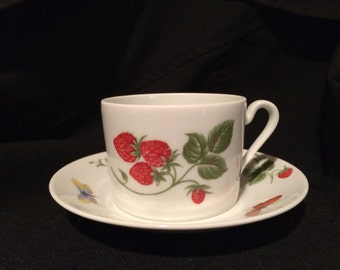 Limoges Tea Cup and  Saucer - Strawberry Motif - Coffee Can - Butterflies