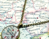 Anchorage, Alaska 1961 Map Necklace. Map Pendant. Map Jewelry.
