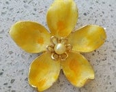 "Vintage Signed KRAMER Enamel Flower Brooch - Yellow, Gold, Pearl 2-1/2"" excellent condition"