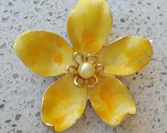 "Vintage Signed KRAMER Enamel Flower Brooch - Yellow, Gold, Pearl 2-1/2"" excellent condition"