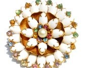 Vintage Jewelry Rhinestone Brooch with White Milk Glass Flower Design on Gold Tone with Pastel Rhinestones - Floral Vintage Costume Jewelry