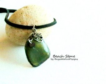 Statement Necklace, Personalized,Green, Beach Stone, Rustic, Hipster, Bohemian, Nautical, Beachy, Leather, Gift Idea, Unisex