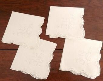 Vintage Open Cut Work Linen Napkins - Set of Four - Off White