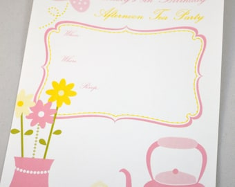 Printable Pink and Yellow Tea Party Invitation