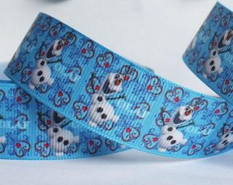 CLEARANCE SALE*FREE Shipping*3 yards x Grosgrain Disney Frozen Olaf 25mm 0ne inch Ribbon, Hair Bow Ribbon, Sewing Ribbon, Scrapbook Ribbon