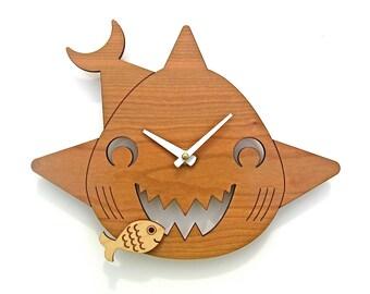 Kids Clock: Wood Shark Wall Clock for Ocean Nursery Theme