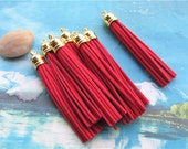 10pcs 85mm Gold cap--red suede leather tassel findings pendants