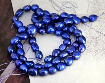 "Flat Rice Freshwater pearl Cultured Pearl  Blue Pearl 8mm-10mm Gemstone Beads Full Strand 14"""