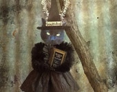 Vintage Look Black Cat Witch Chenille Ornament