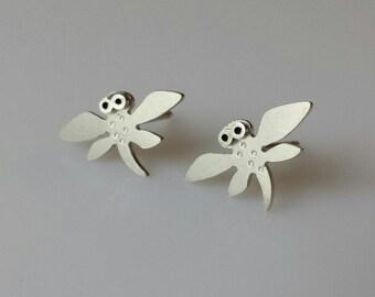 DRAGONFLY Stud Earrings Sterling Silver Mini Zoo