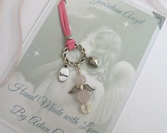 Guardian Angel, Rose Quartz Gemstone Angel, Believe Gift for a Friend, Get Well Gift