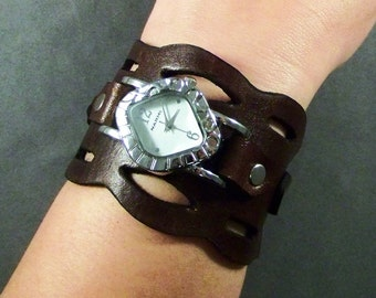 Leather Watch, Womens Watch, Brown Leather Watch, Womens Wrist Watch, Cuff Watch, Leather Watchband, Bracelet Watch, Montre, Watches, Gift